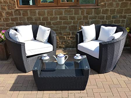 Oceans Rattan Furniture - Geneva Outdoor Rattan Chair Set - Standard Coffee