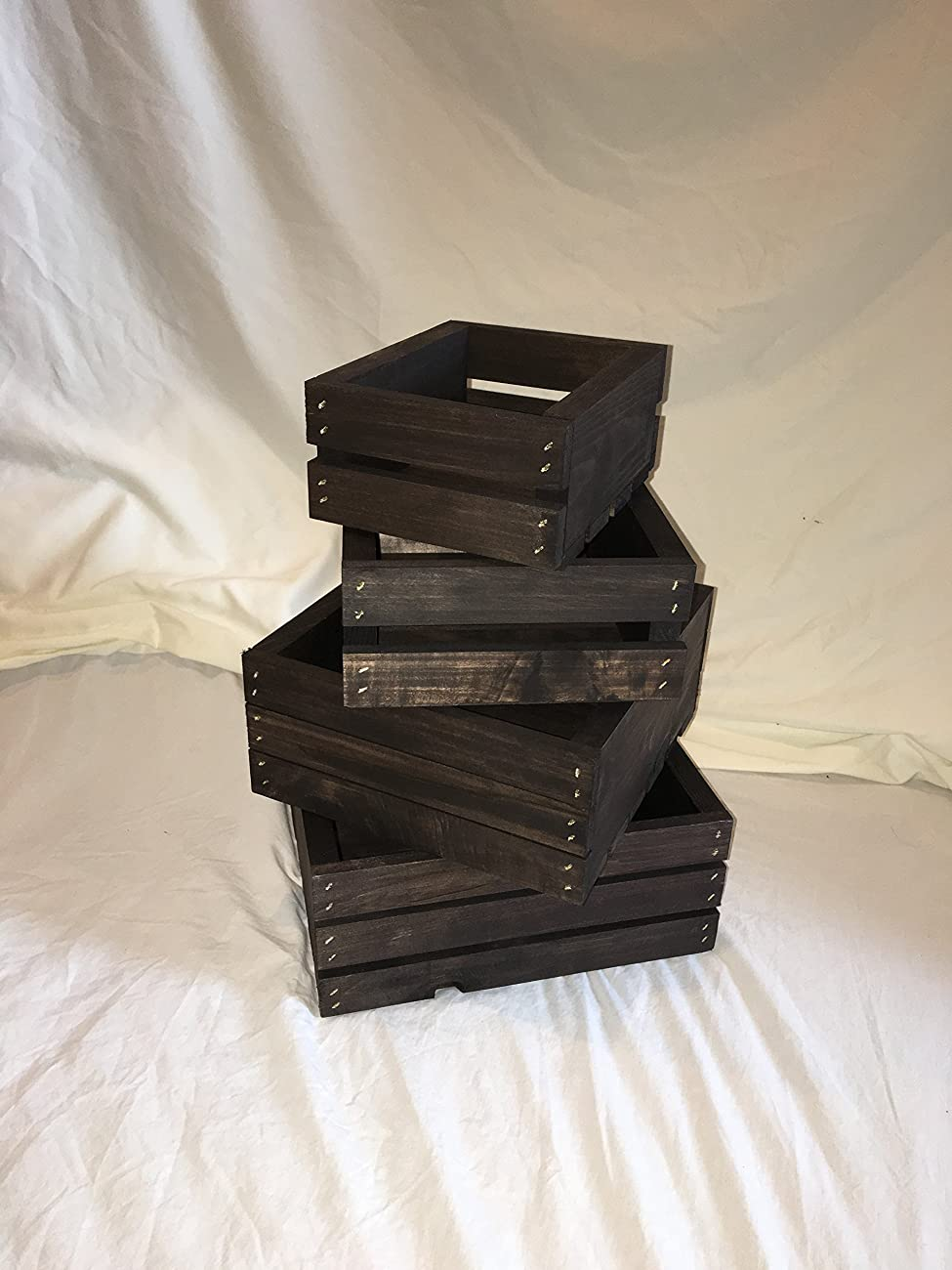 Vintage Stained- Rustic Wood Crates- Set of 4 1