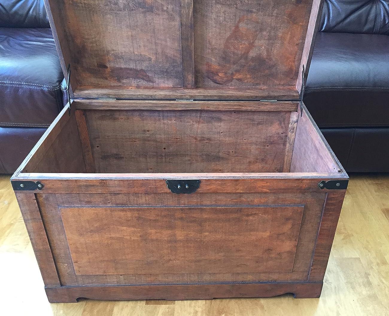 Newport Large Wood Storage Trunk Wooden Treasure Chest - Walnut 2