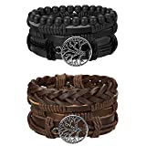 Finrezio Mix 6 Wrap Bracelets for Men Women Hemp Cords Wood Beads Ethnic Tribal Bracelets Leather Wristbands