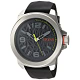 BOSS Orange Men's Quartz Stainless Steel and Silicone Casual Watch, Color:Grey (Model: 1513354) (Color: grey)