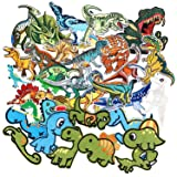SIX VANKA Cool Dinosaur Patches 36pcs Random Assorted Iron On Embroidered Applique Sew on for Kids DIY Crafts Clothes Backpacks (Color: Dinosaur Appliques Patches Set)