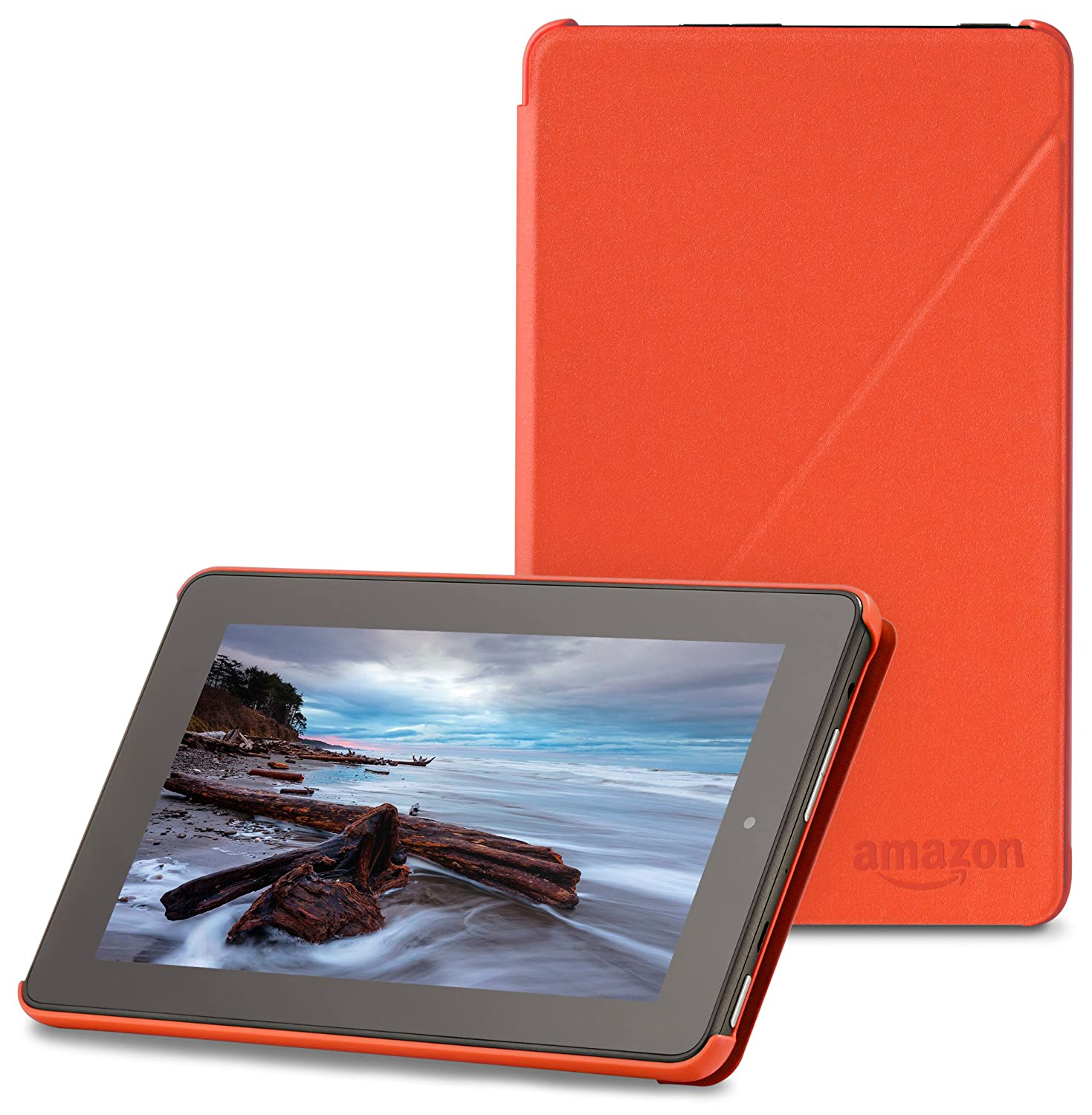 "Amazon Fire 7"" (2015 release) Case - Slim Lightweight Standing Custom Fit Cover for Amazon Fire 7 Inch Tablet, Tangerine"