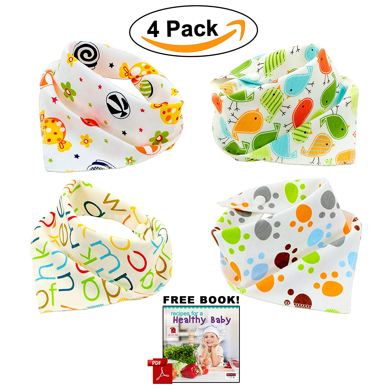 Bandana Baby Bibs Cute Unisex for Boys and Girls 100% Cotton Super-Stylish Anti-Smell Anti-Bacterial Apron Bibs Quick Dry Avoids Drool Rash with Nickel-Free Snaps, Best for Sensitive Skin, Buy Now