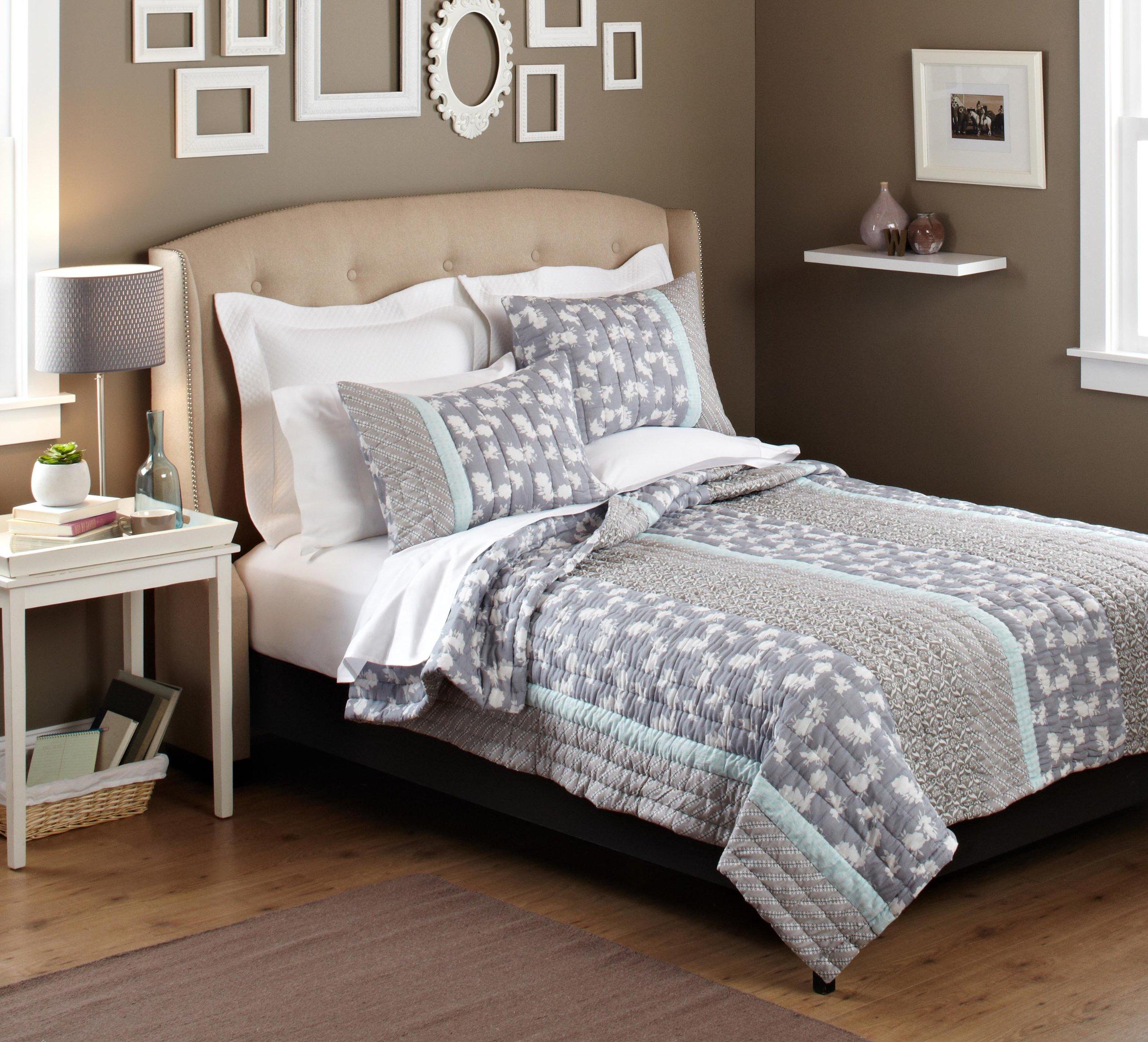 Pinzon 100 Percent Cotton Printed Fullqueen Quilt Set Gray
