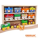 Orbrium Toys 12 Pcs Wooden Engines & Train Cars Collection with Animals, Farm Safari Zoo Wooden Animal Train Cars, Circus Train Car Compatible with Thomas Wooden Railway System, Brio, Chuggington
