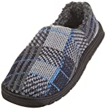 Muk Luks Men's Tom Slipper, Blue/Grey Plaid, Large