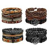 LOYALLOOK 8-16pcs Mens Leather Bracelet Wrap Cuff Bracelets with Hemp Cords Wood Beads Ethnic Tribal Believe Charm (Style E: 4set=15pcs) (Color: Style E: 4set=15pcs)