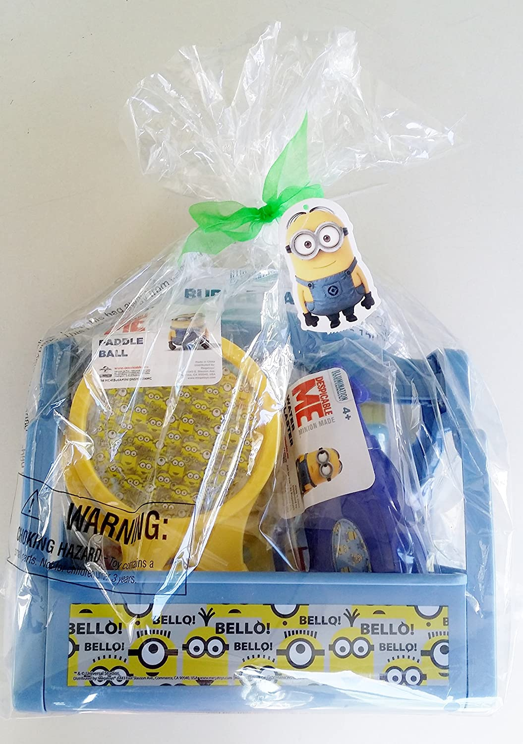 Despicable Me Caddy 4 Piece Gift Set Minion Made - Water Gun, Paddle Ball Set, Bubble Wand with Solution all in a Fun Minion Container! despicable me unicorn minion stuffed