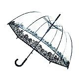 SMATI Stick Birdcage Clear Umbrella dome transparent - Automatic open (Flowers) (Color: Flowers, Tamaño: L)