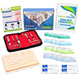 Suture Practice Kit - Medical & Surgical Training Set - Silicone Skin Suture Pad with Complete Tool Kit, Suture Thread, Scalpel Blades & Carrying Storage Case - Free, Bonus Educational Resources!