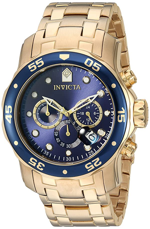 Invicta Men's 0073 Pro Diver Collection Chronograph 18k Gold-Plated Watch with Link Bracelet (Color: Gold/Blue, Tamaño: Standard)