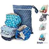 Simple Being Reusable Cloth Diapers Double Gusset One Size Adjustable Washable Soft Absorbent Waterproof Cover Eco-Friendly Unisex Baby Girl Boy with six 4-Layers Microfiber Inserts (Under The Sea) (Color: Under the Sea)