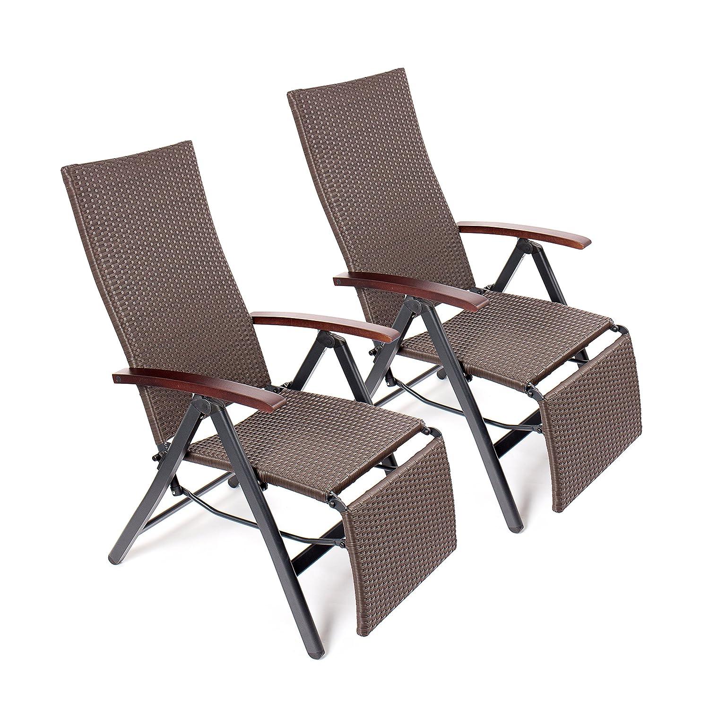 Vanage Klappstühle Poly-Rattan Relaxsessel mit Fußablage 2-er Set, GS-geprüft, braun günstig