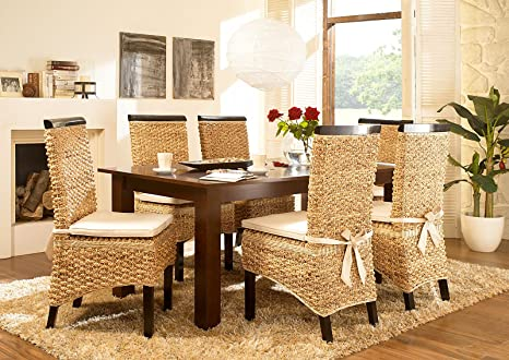 Massivum Nizza Esstisch und 6 Stuhle, Holz, kolonial, 100 x 200 x 75 cm