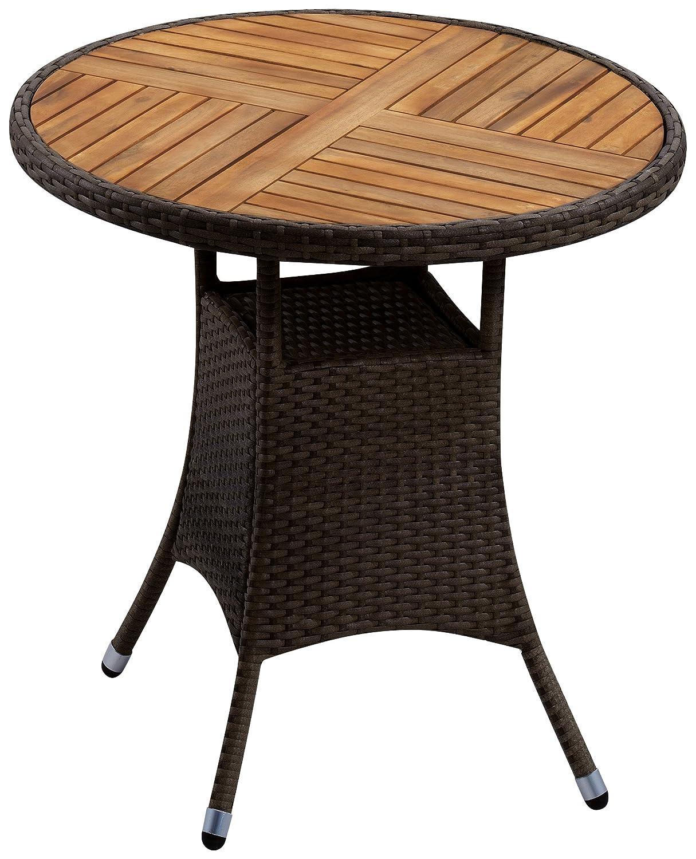 Gartenfreude Tisch Polyrattan, Aluminiumgestell mit Akazienholz, Mocca, 80 x 75 cm (DxH) online kaufen