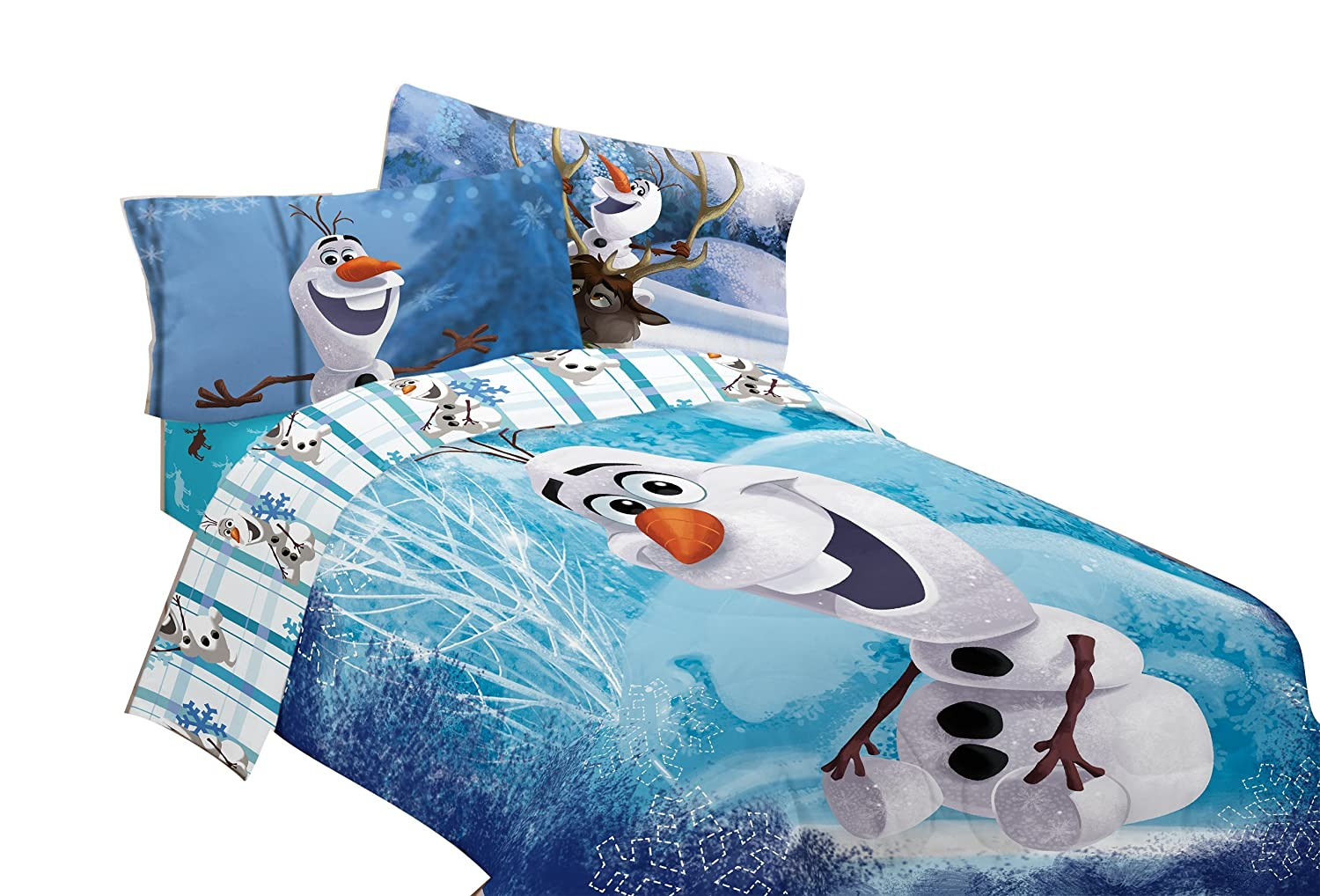 Disney Frozen Olaf Build A Snowman 72 By 86 Inch Microfiber Comforter, Twin/