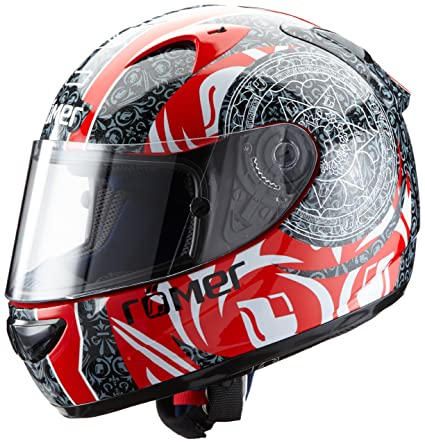 Römer 502124 Romains Mandala Casque de Moto Complet, Noir/Rouge, Taille : L