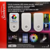 Sunbeam Color Changing LED Power Failure / Night Light, 3 Pack (Color: Multicolor, Tamaño: 3 pack 2018)