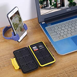 Skoloo SD Card Case, Waterproof Memory Card Holder, 12 SD Card Cases Storage + 12 Micro SD Card Holder for SDHC SDXC TF Card, 2 Pack Yellow/Red (Color: red & yellow)