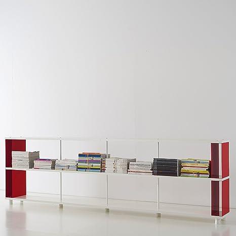 Bookcase SKAFFA modular white shelving cm.300 x 90h x 30 Modern design . Made in Italy