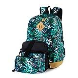Leaper Floral Laptop Backpack School Travel Bags Shoulder Bag Purse Green 3PCS (Color: Floral-Green 3PCS, Tamaño: Large)