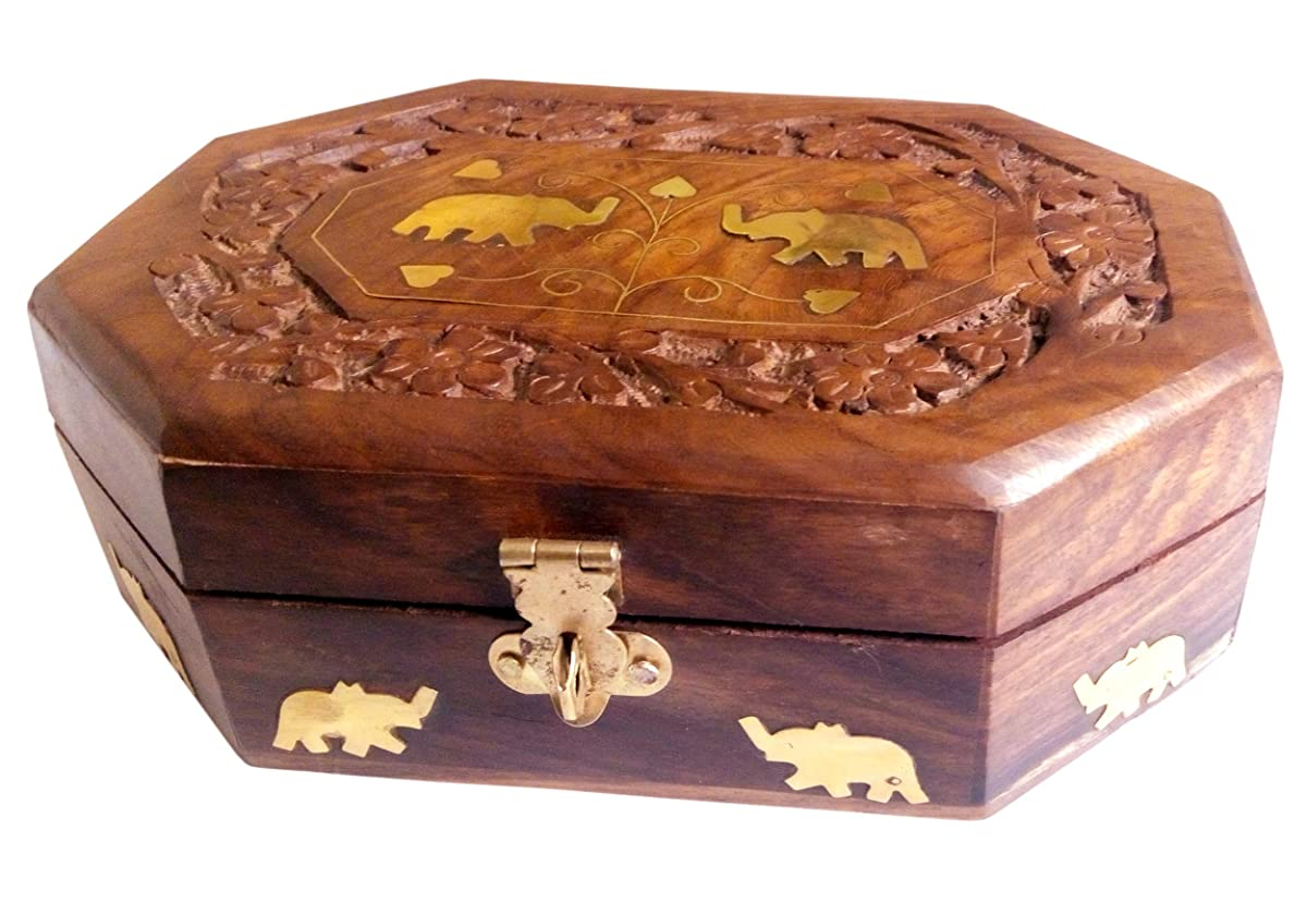 ITOS365 Handmade Wooden Jewellery Box for Women Jewel Organizer Elephant Décor, 7 x 5 Inches