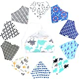 10-Pack Baby Boy Bandana Drool Bibs with 1 BONUS Laundry Bag for Babies,Toddlers - Organic Cotton Absorbent Bib Bandana (Boy Pattern)