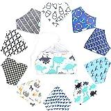 10-Pack Baby Boy Bandana Drool Bibs with 1 BONUS Laundry Bag for Babies,Toddlers - Organic Cotton Absorbent Bib Bandana (Boy Pattern)