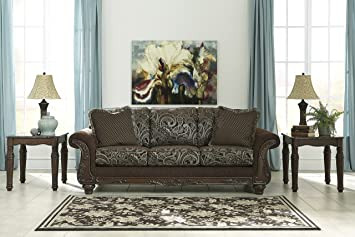 Grantswood Brown Traditional Classics Wood and Fabric Sofa