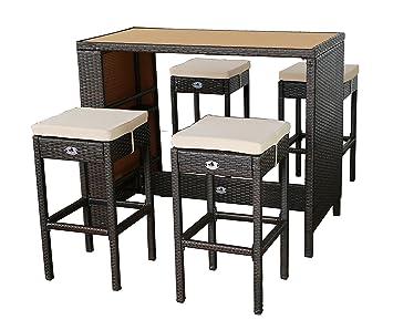 Gartenfreude Polyrattan Sitztheke mit 4 Hockern, WPC Tischplatte 133 x 68 x 111cm, Hocker 42 x 42 x 75 cm, braun