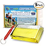 Zenwells Gold Mylar Solar Blankets; Thermal Blanket 5 Pack, Best for Emergency Survival Kit, Outdoor, Camping, Hiking, Survivalist, Car Emergencies, Travel or First Aid Kits
