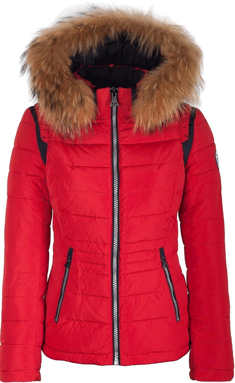 "5M89 Damen Winterjacke Skijacke in Daunen-Optik ""TARORE"" mit Echtfellkapuze rot kaufen"