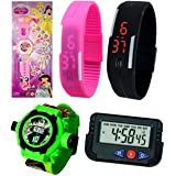 Pappi Boss Kids Special Favourite Toys - Pack of 5 Benton (BEN 10) & Barbie Beautiful Girl Projector Band Watch, Black & Pink Digital Led Watch for Boys & Girls & Table/Car Clock (Color: Multi)