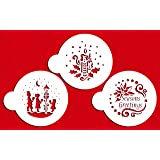 Designer Stencils C463 Seasons Greeting Cookies Stencils, (Seasons Greetings - Carolers - Candle and Holly), Beige/semi-transparent