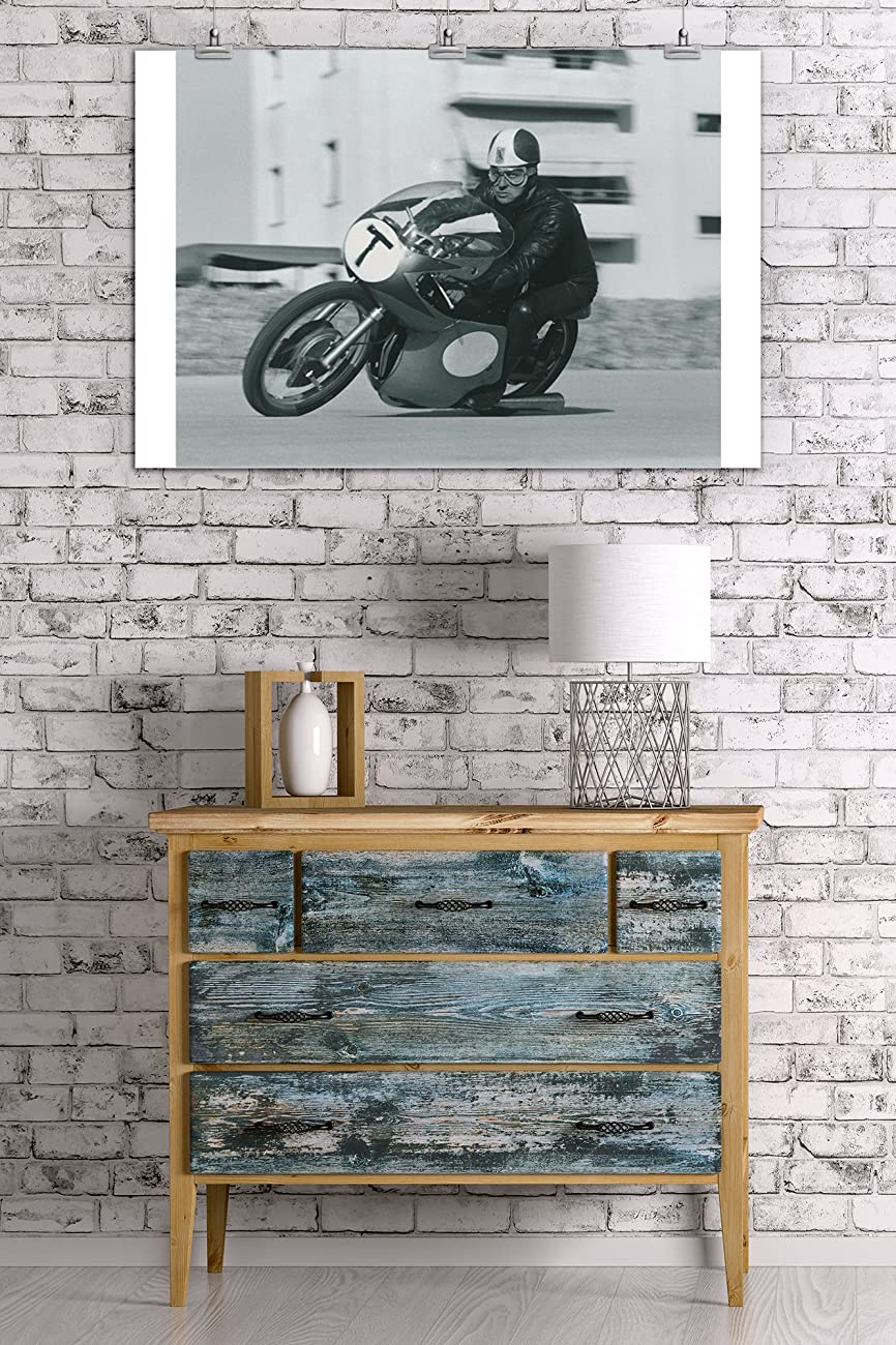 Motorcycle Race - T Vintage Poster (24x36 Giclee Gallery Print, Wall Decor Travel Poster) 2