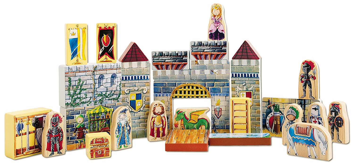 T s shure archiquest wooden castle blocks playset and Build storybook