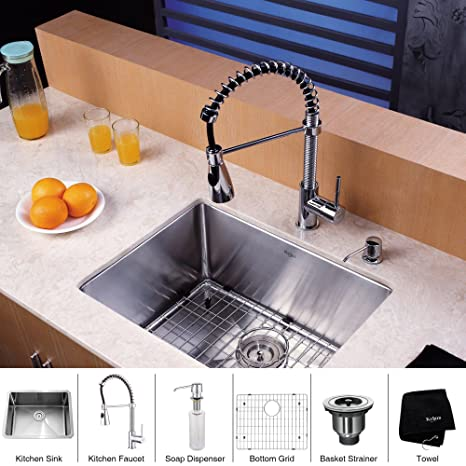Kraus KHU101-23-KPF1612-KSD30CH 23 inch Undermount Single Bowl Stainless Steel Kitchen Sink with Chrome Kitchen Faucet and Soap Dispenser
