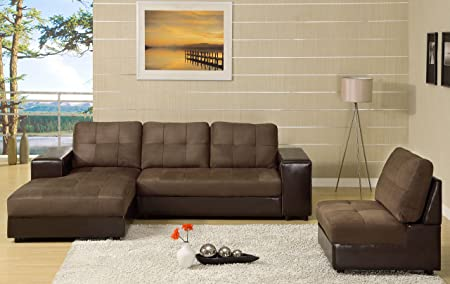 Furniture of America Grande 3-Piece Microfiber Sectional, Cappuccino