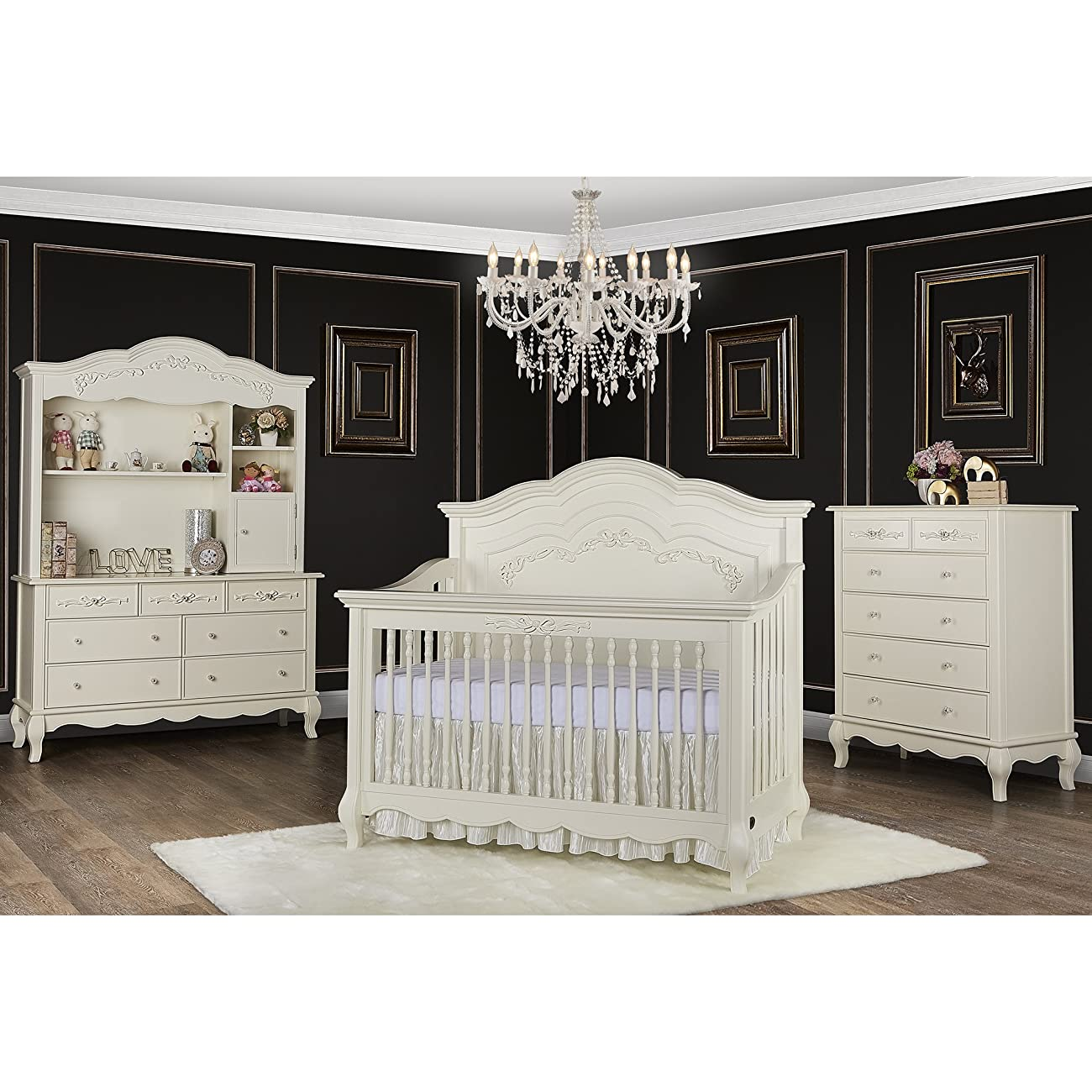 Evolur Aurora 5-in-1 Convertible Crib, Ivory Lace 1