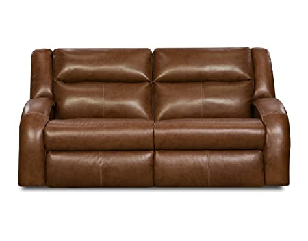 Southern Motion Double Reclining Motion Sofa in Saddle Bonded Leather Cover