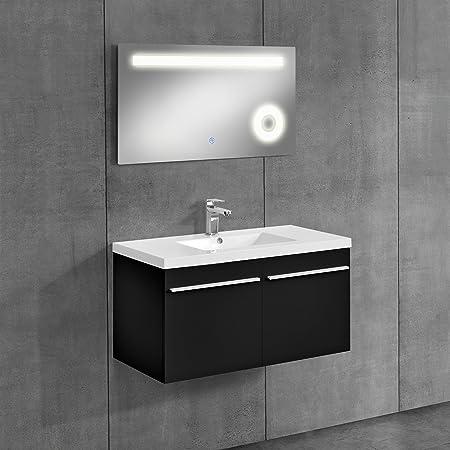 bathroom furniture / LED mirror washbasin base cabinet / cosmetic zoom mirror / bathroom / sink / illuminated mirror / cupboard / black / mirror 50x90 cm