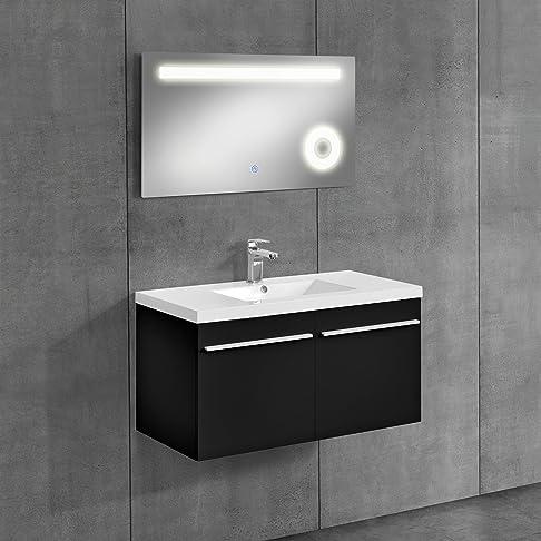 [neu.haus] Mobile da bagno nero con lavabo e specchio 60x100cm