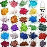 Mica Powder – Epoxy Resin Dye - Soap Making Kit – Soap Making dye – 28 Coloring - Powdered Pigments Set – Hand Soap Making Supplies - Organic Mica Powder (Tamaño: 28)