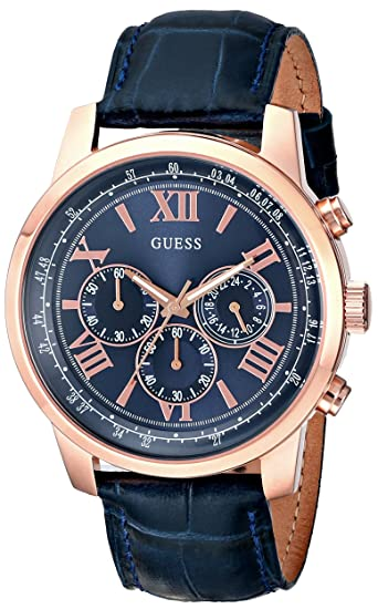 NEW GUESS MENS WATCH HORIZON ROSE GOLD BLUE CROCO LEATHER ...
