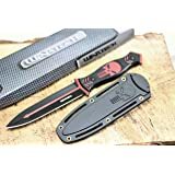 Wartech HWT212 10.25 Inch Full Tang Punisher Fixed Blade Hunting Knife with Plastic Hard Sheath (Red) (Color: Red)