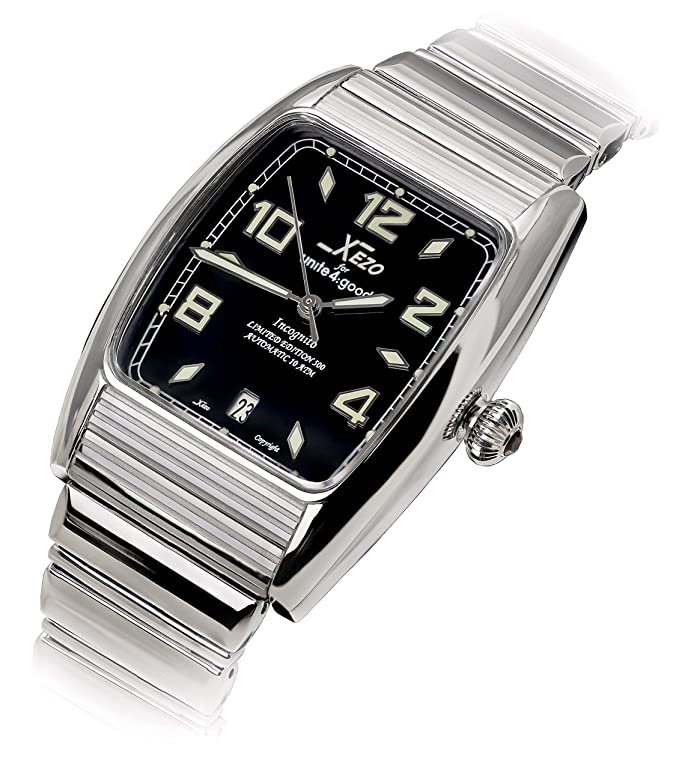 Xezo incognito japanese automatic tonneau watch swiss sapphire 856469005311 for Xezo watches