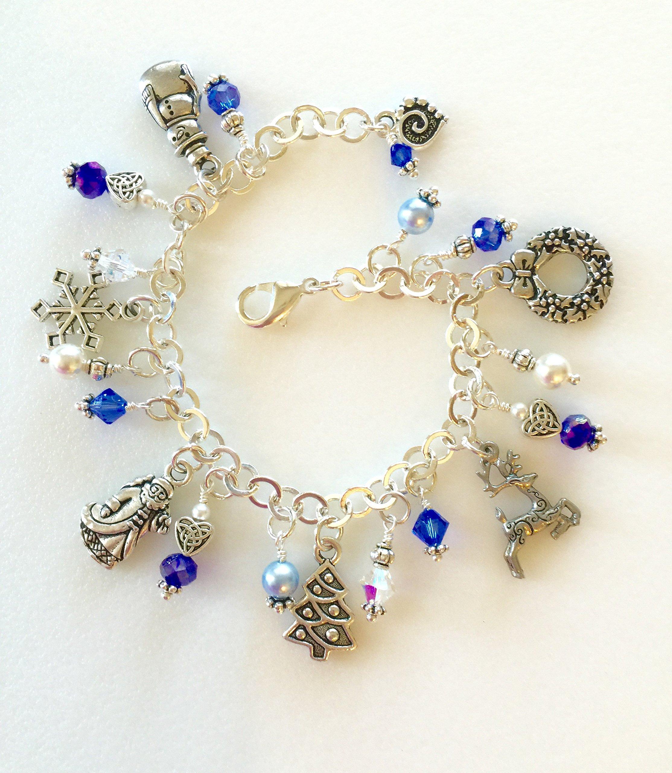 "Swarovski Charm Bracelet: Christmas Charm Bracelet, ""Winter Wonderland"" Christmas"