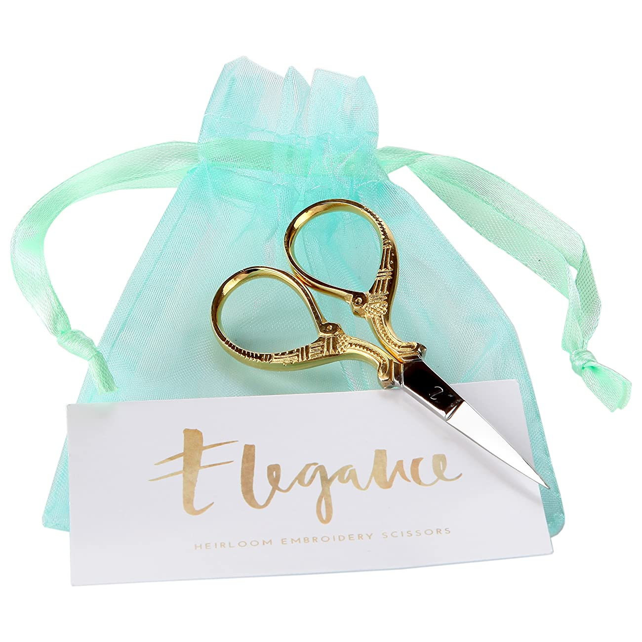 Gold Embroidery Scissors With Organza Gift Bag - for Cross Stitch Sewing Needlepoint Crafts- Lovely for Office Desk or Stationary Tasks - European Gold 1