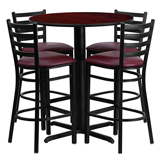 "Flash Furniture 30"" Round Mahogany Laminate Table Set with 4 Ladder Back Metal Bar Stools-Burgundy Vinyl Seat"